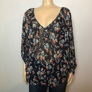 Joie Floral Silk Long Sleeve Tunic Blouse